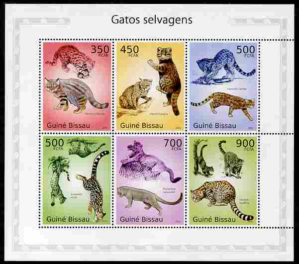 Guinea - Bissau 2010 Cats perf sheetlet containing 6 values unmounted mint