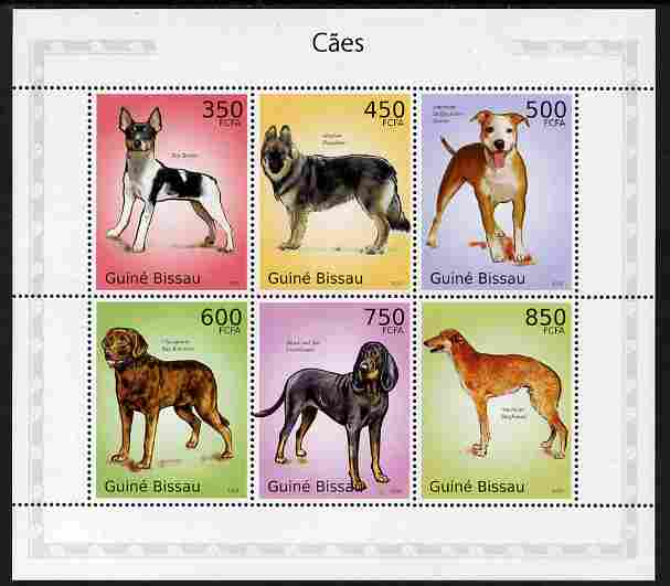 Guinea - Bissau 2010 Dogs perf sheetlet containing 6 values unmounted mint
