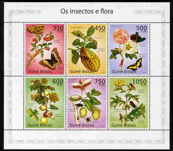 Guinea - Bissau 2010 Insects & Flowers perf sheetlet containing 6 values unmounted mint