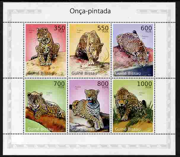Guinea - Bissau 2010 Jaguars perf sheetlet containing 6 values unmounted mint