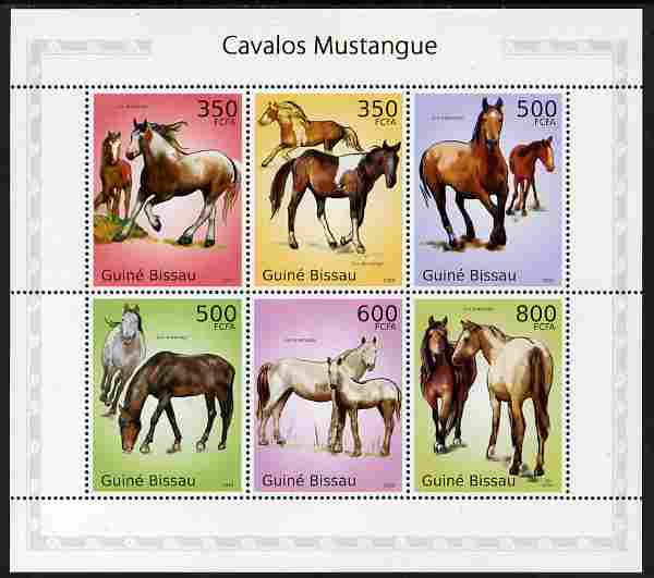 Guinea - Bissau 2010 Mustangs perf sheetlet containing 6 values unmounted mint