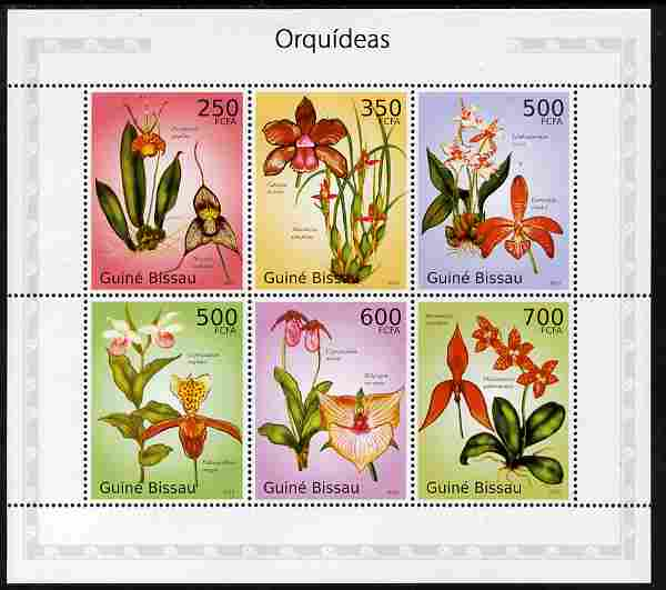 Guinea - Bissau 2010 Orchids perf sheetlet containing 6 values unmounted mint