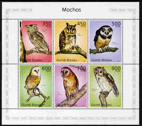 Guinea - Bissau 2010 Owls perf sheetlet containing 6 values unmounted mint