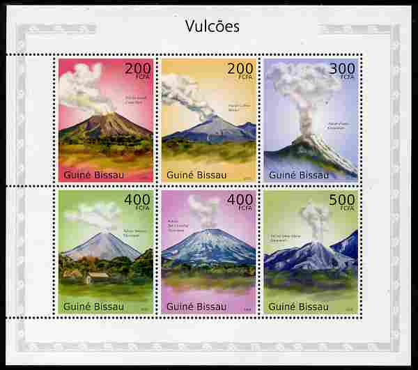 Guinea - Bissau 2010 Volcanoes perf sheetlet containing 6 values unmounted mint
