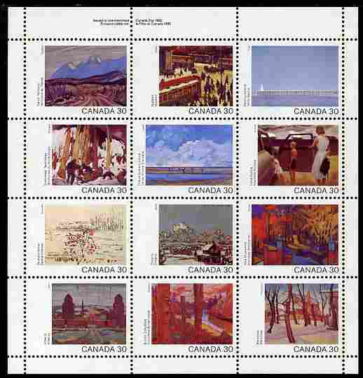 Canada 1982 Canada Day - landscapes perf sheetlet containing 12 values unmounted mint SG 1047a