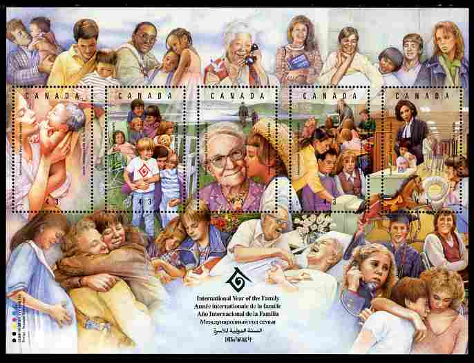 Canada 1994 International Year of the Family perf sheetlet containing 5 values unmounted mint SG 1596