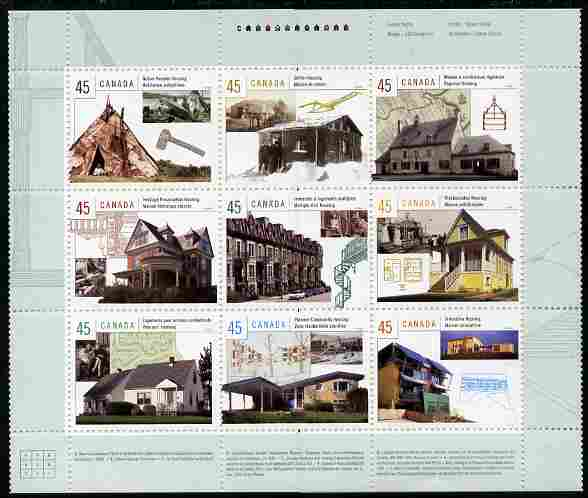 Canada 1998 Canadian Houses perf sheetlet containing 9 values unmounted mint (plus descriptive labels in both languages folled under along perforations) SG 1826a