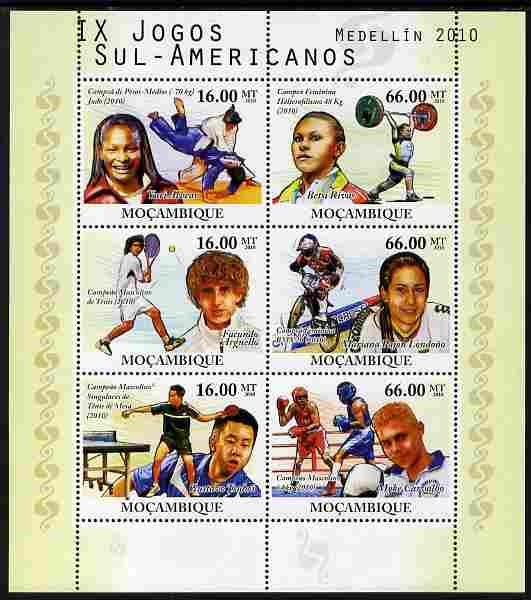 Mozambique 2010 South American Games perf sheetlet containing 6 values unmounted mint