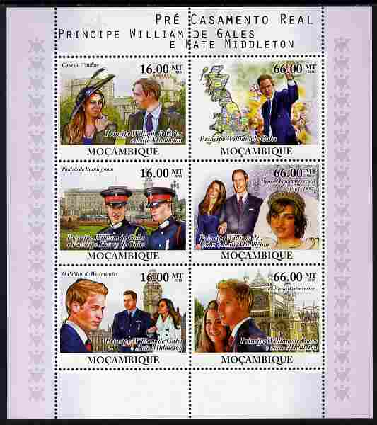 Mozambique 2010 Royal Engagement - William & Kate perf sheetlet containing 6 values unmounted mint