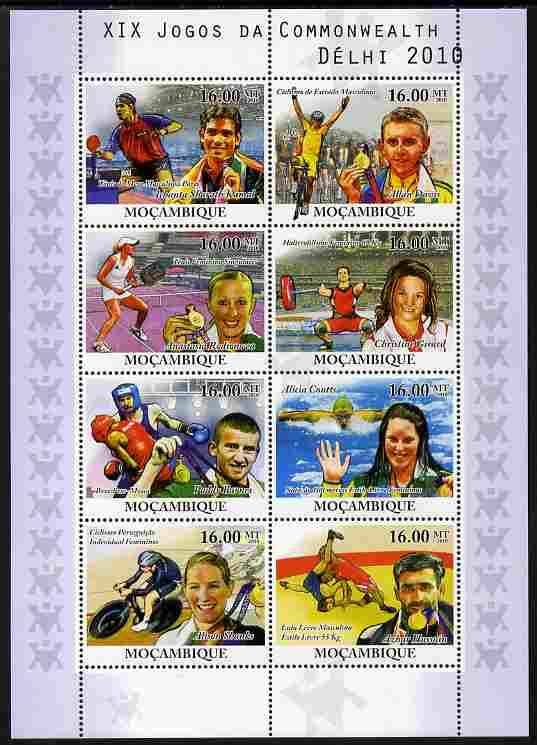 Mozambique 2010 Commonwealth Games perf sheetlet containing 8 values unmounted mint