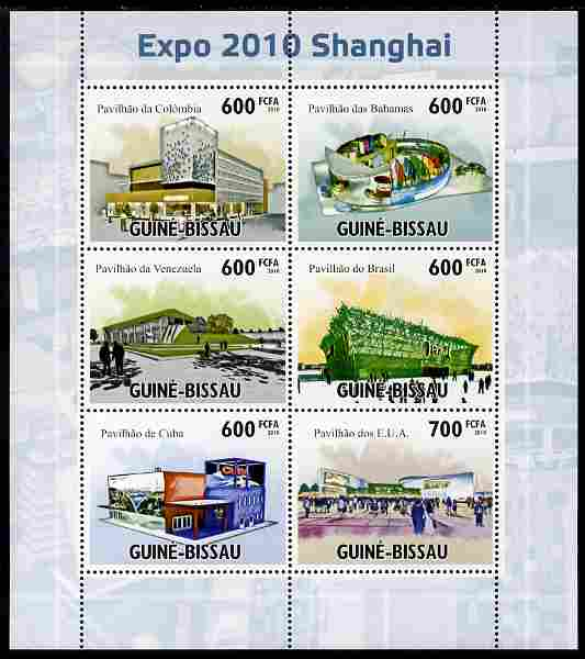 Guinea - Bissau 2010 Shanghai EXPO 2010 perf sheetlet containing 6 values unmounted mint