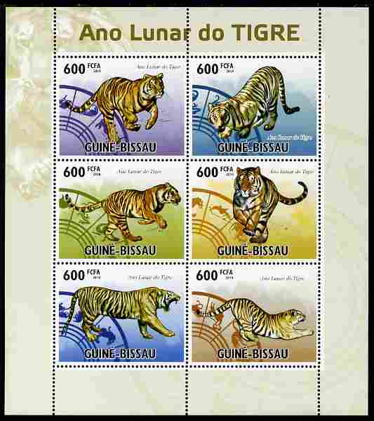 Guinea - Bissau 2010 Chinese New Year - Year of the Tiger perf sheetlet containing 6 values unmounted mint