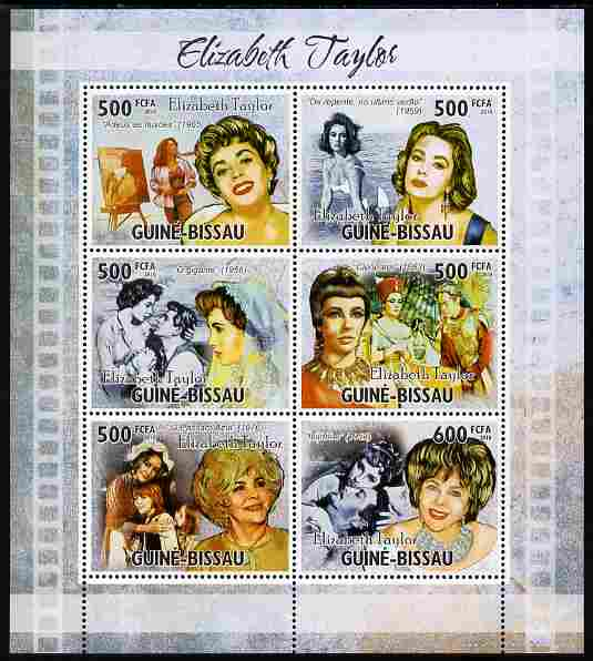 Guinea - Bissau 2010 Elizabeth Taylor perf sheetlet containing 6 values unmounted mint