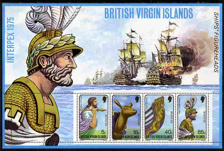 British Virgin Islands 1975 Interpex perf m/sheet showing Ship's Figure Heads unmounted mint, SG MS 329