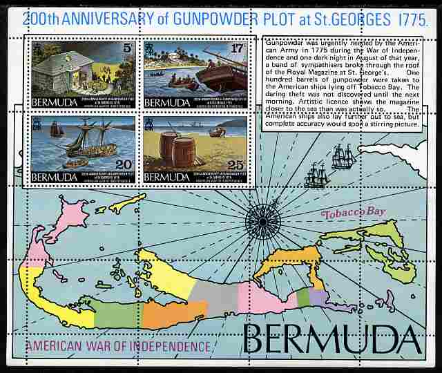Bermuda 1975 Bicentenary of St Georges Gunpowder Plot perf m/sheet unmounted mint, SG MS 339
