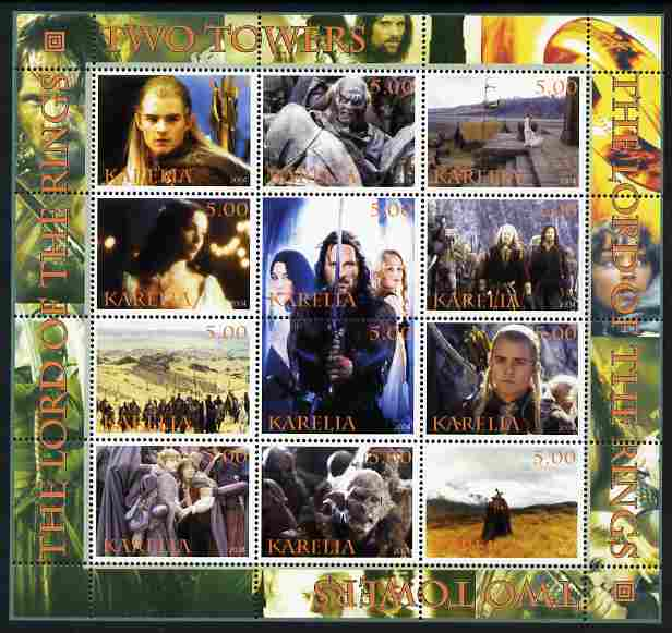 Karelia Republic 2004 Lord of the Rings - Two Towers #2      perf sheetlet containing 12 values unmounted mint