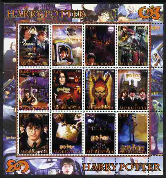 Mordovia Republic 2004 Harry Potter perf sheetlet #2 containing set of 12 values unmounted mint