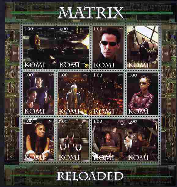 Komi Republic 2004 Matrix Reloaded #2 perf sheetlet containing set of 12 values unmounted mint
