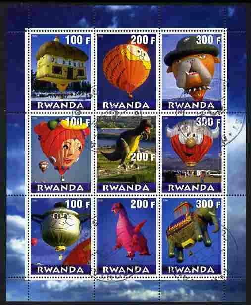 Rwanda 2000 Balloons perf sheetlet containing 9 values fine cto used