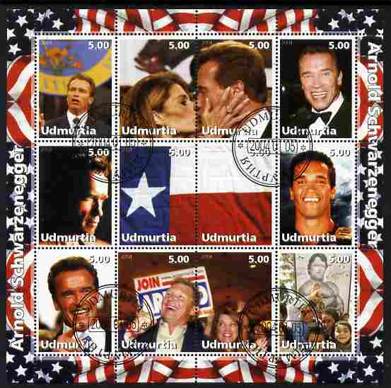 Udmurtia Republic 2004 Arnold Schwarzenegger perf sheetlet containing 12 values fine cto used