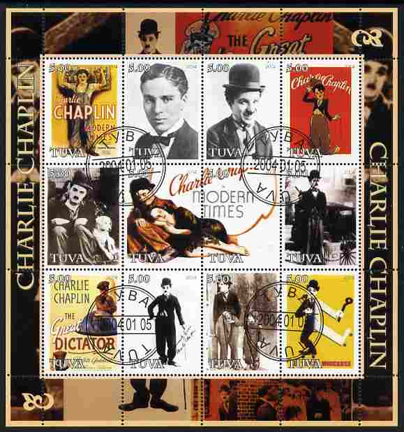 Touva 2004 Charlie Chaplin perf sheetlet #2 containing set of 12 values fine cto used