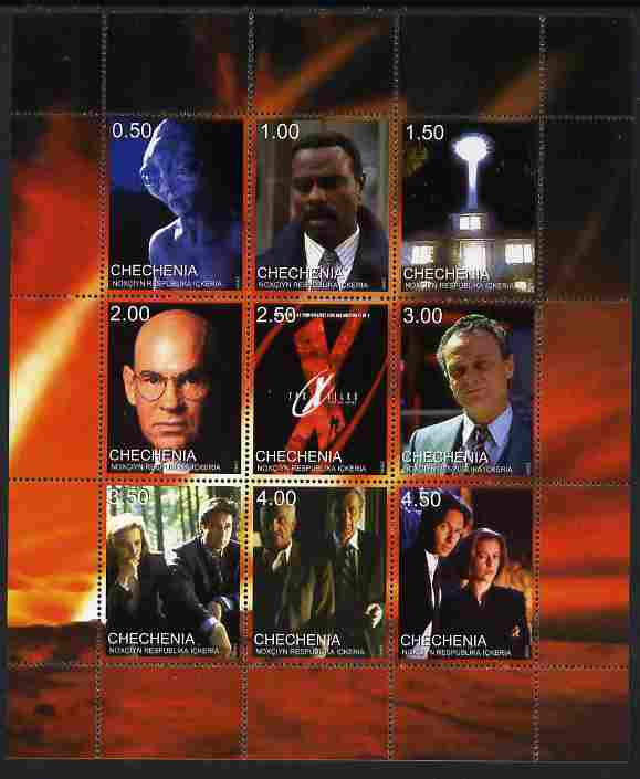 Chechenia 1999 X-Files perf sheetlet containing set of 9 values unmounted mint