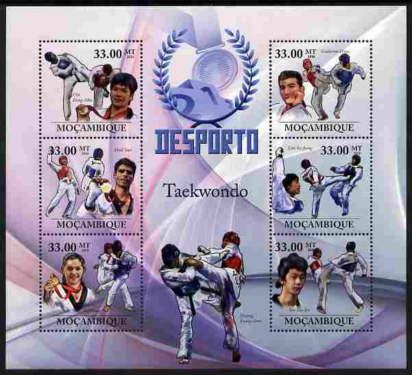 Mozambique 2010 Sport - Taekwondo large perf sheetlet containing 6 values unmounted mint