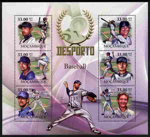 Mozambique 2010 Sport - Baseball large perf sheetlet containing 6 values unmounted mint