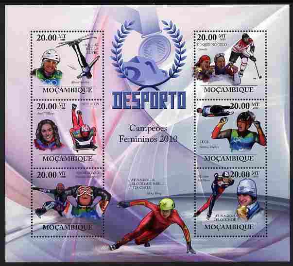 Mozambique 2010 Sport - Winter Games - Women large perf sheetlet containing 6 values unmounted mint