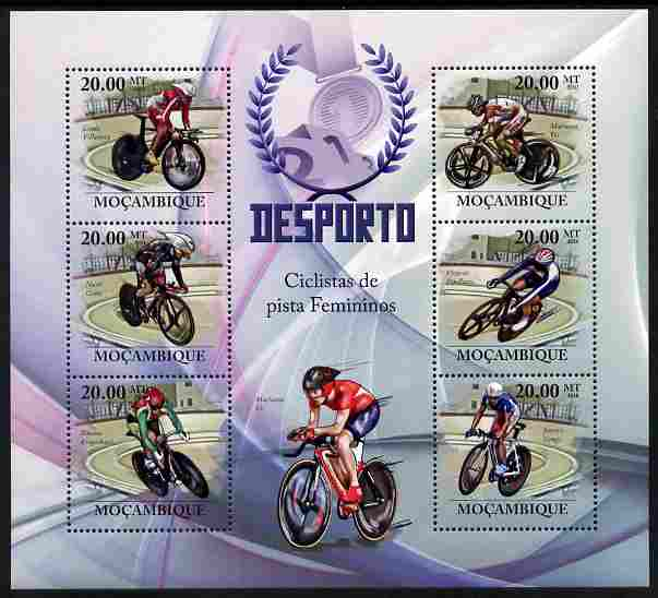 Mozambique 2010 Sport - Track Racing large perf sheetlet containing 6 values unmounted mint