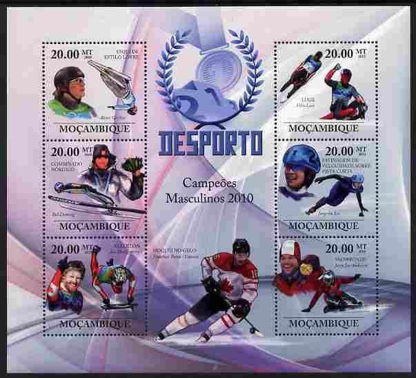 Mozambique 2010 Sport - Winter Games - Men large perf sheetlet containing 6 values unmounted mint