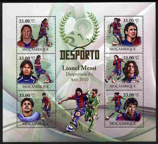 Mozambique 2010 Sport - Football large perf sheetlet containing 6 values unmounted mint