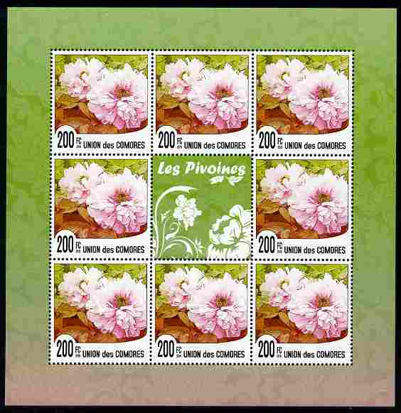 Comoro Islands 2009 Flowers of China - Peonies perf sheetlet containing 8 values unmounted mint Michael 2620