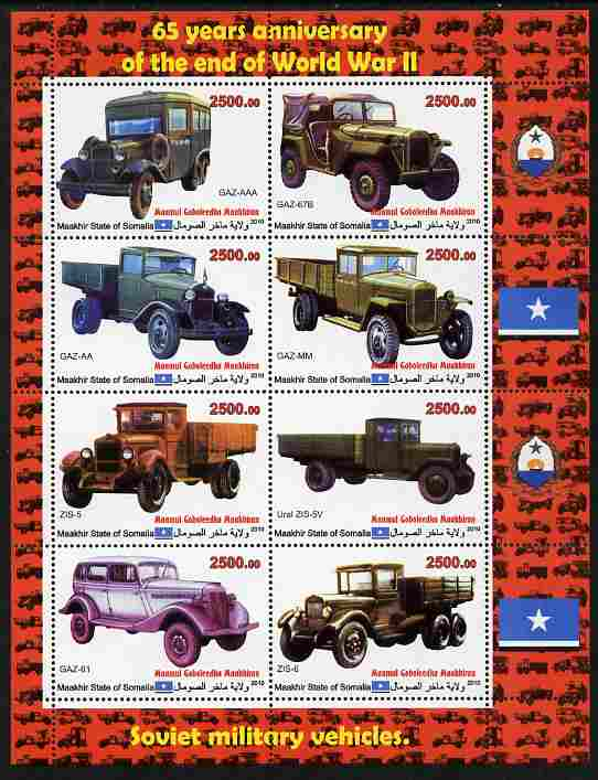 Maakhir State of Somalia 2010  65th Anniversary of the end of World War II #1 - Cars & Trucks perf sheetlet containing 8 values unmounted mint , stamps on cars, stamps on trucks, stamps on  ww2 , stamps on transport