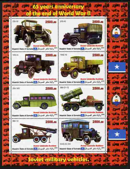 Maakhir State of Somalia 2010  65th Anniversary of the end of World War II #2 - Cars & Trucks perf sheetlet containing 8 values unmounted mint