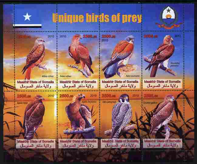 Maakhir State of Somalia 2010 Unique Birds of Prey perf sheetlet containing 8 values unmounted mint