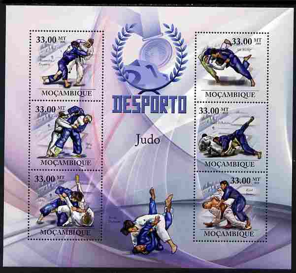 Mozambique 2010 Sport - Judo large perf sheetlet containing 6 values unmounted mint, Scott #2002, stamps on sport, stamps on martial arts, stamps on judo