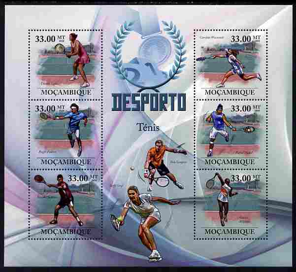 Mozambique 2010 Sport - Lawn Tennis large perf sheetlet containing 6 values unmounted mint, Scott #1998