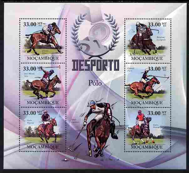 Mozambique 2010 Sport - Polo large perf sheetlet containing 6 values unmounted mint, Scott #2004