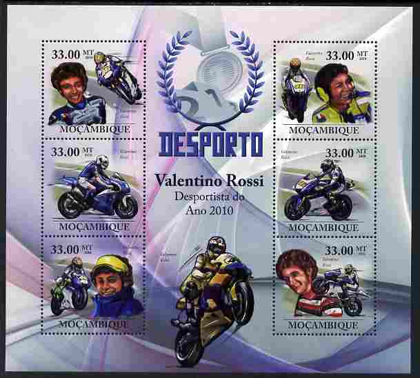 Mozambique 2010 Sport - Motor Cycling (Valentino Rossi) large perf sheetlet containing 6 values unmounted mint, Scott #2013