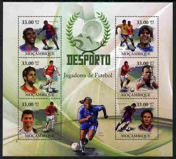 Mozambique 2010 Sport - Football large perf sheetlet containing 6 values unmounted mint, Scott #2009