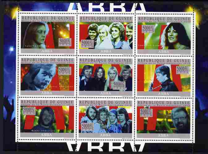 Guinea - Conakry 2010 ABBA (pop group) perf sheetlet containing 9 values unmounted mint, Michel 7409-17
