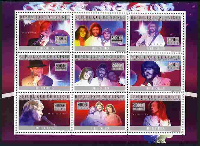 Guinea - Conakry 2010 Bee Gees (pop group) perf sheetlet containing 9 values unmounted mint, Michel 7449-57