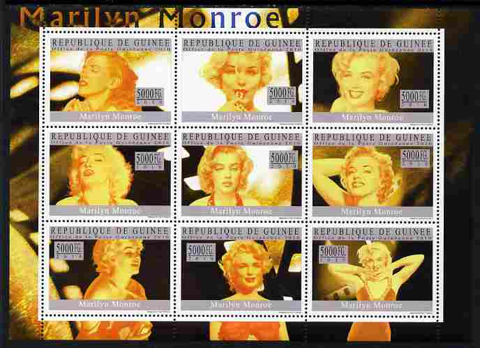 Guinea - Conakry 2010 Marilyn Monroe perf sheetlet containing 9 values unmounted mint, Michel 7349-57