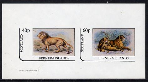 Bernera 1982 Animals (Lions) imperf  set of 2 values (40p & 60p) unmounted mint