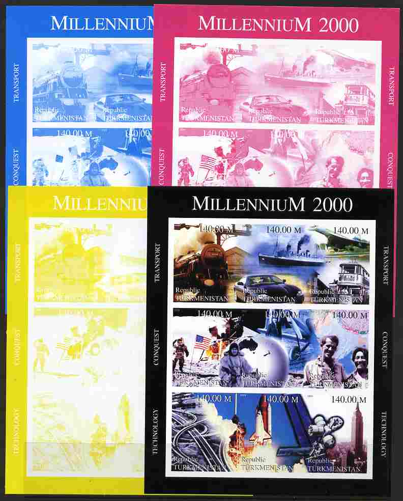 Turkmenistan 1999 Millennium (Transport, Conquest & Technology) sheetlet containing 9 values - the set of 4 imperf progressive proofs comprising 3 individual colours plus all 4-colour composite, unmounted mint