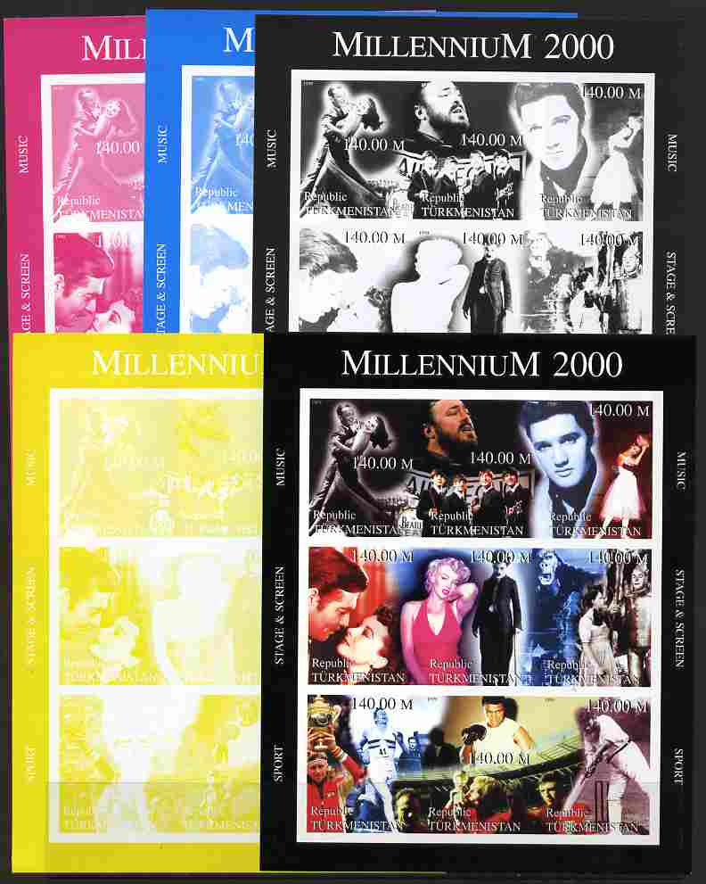 Turkmenistan 1999 Millennium Personalities (Films & Sport) sheetlet containing set of 9 values (Fred & Ginger, Pavarotti, Elvis, Beatles, Marilyn, Chaplin, Ali, W C Grace...