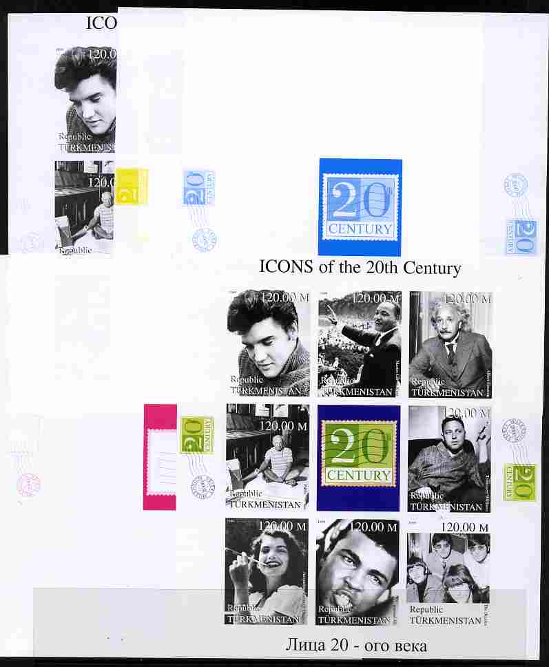 Turkmenistan 1999 Icons of the 20th Century #1 sheetlet containing set of 8 values (Elvis, Einstein, Ali, Beatles etc) - the set of 5 imperf progressive proofs comprising...