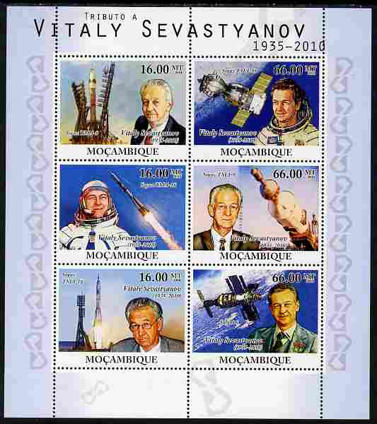 Mozambique 2010 Tribute to Vitaly Sevastyanov (cosmanaut) perf sheetlet containing 6 values unmounted mint