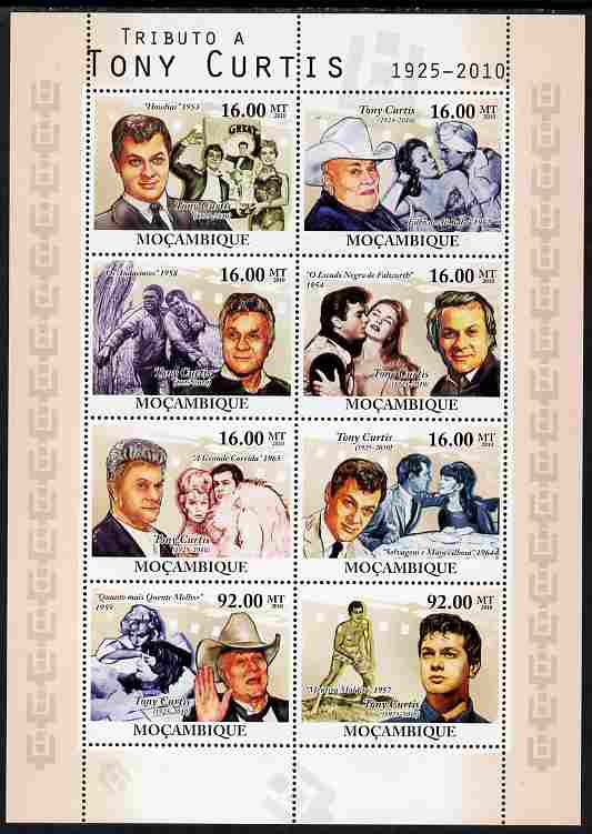 Mozambique 2010 Tribute to Tony Curtis (actor) perf sheetlet containing 8 values unmounted mint